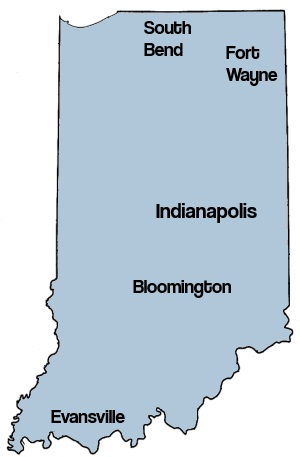 Indiana Roofers Map